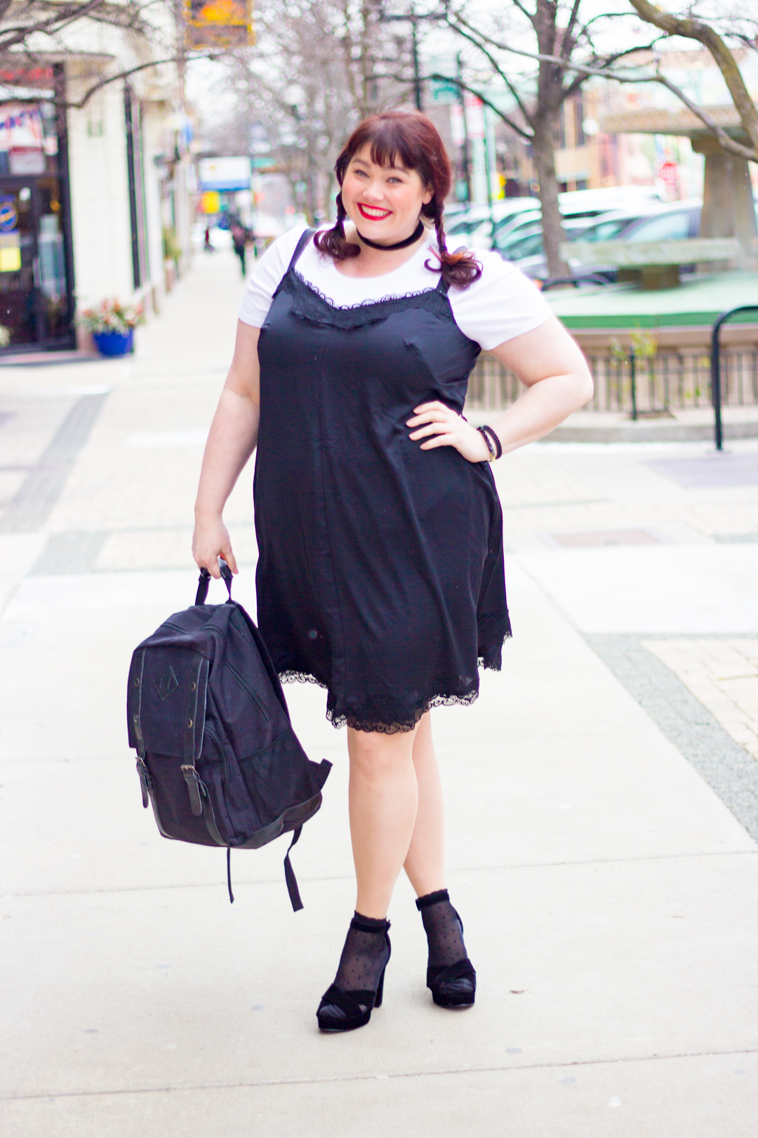 Chicago Plus Size Blogger wears a Glamour x Lane Bryant Slip Dress and rocks the 90s Fashion Trend T-shirts Under Slipdresses
