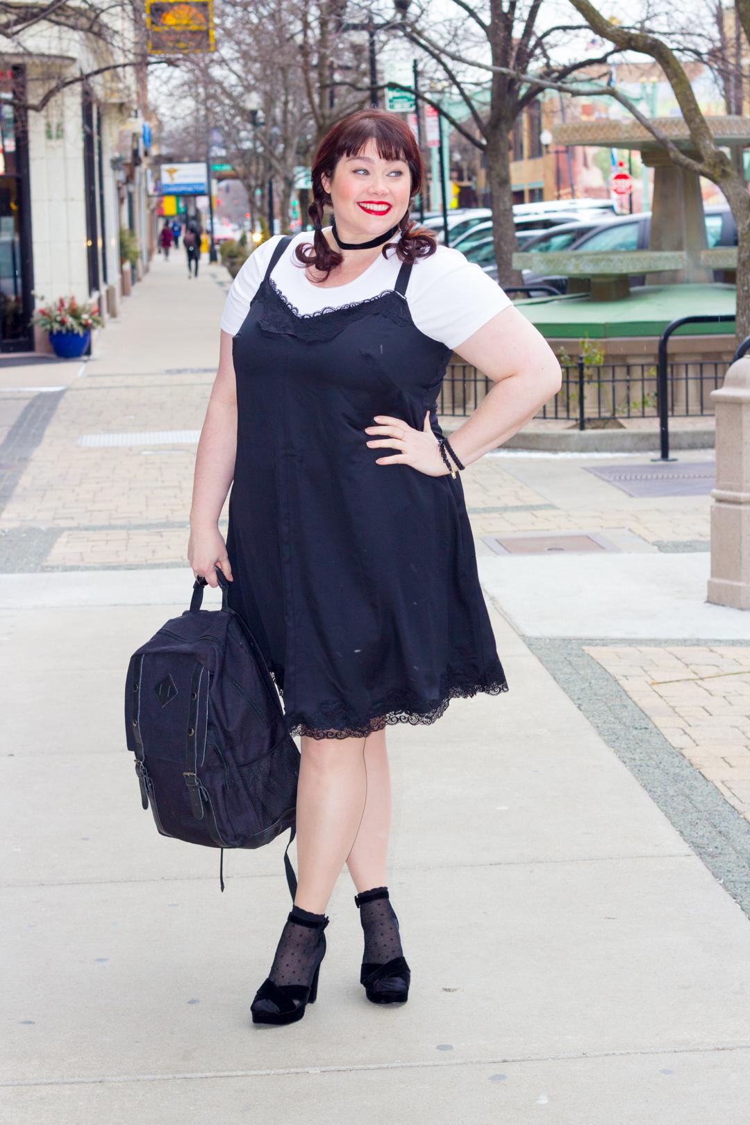 Plus Size Trend Alert: 90s Inspired T-shirts Under Slipdresses