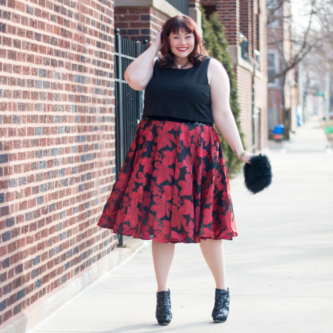 Red and Black Plus Size Party Dress from Sydney's Closet