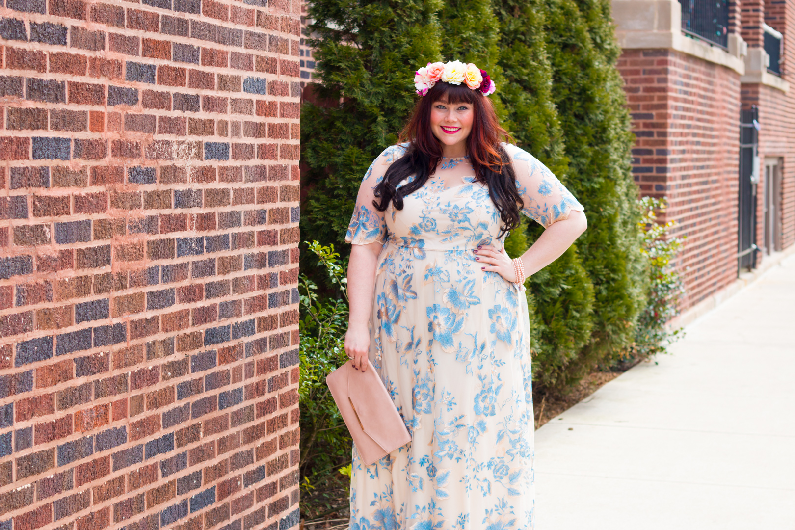 Plus Size Blogger in Adrianna Papell Plus Size Gown from Nordstrom