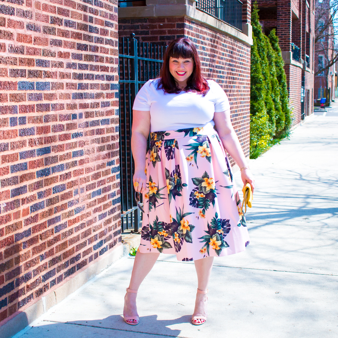 ASOS CURVE Prom Skirt In Scuba With Floral Print