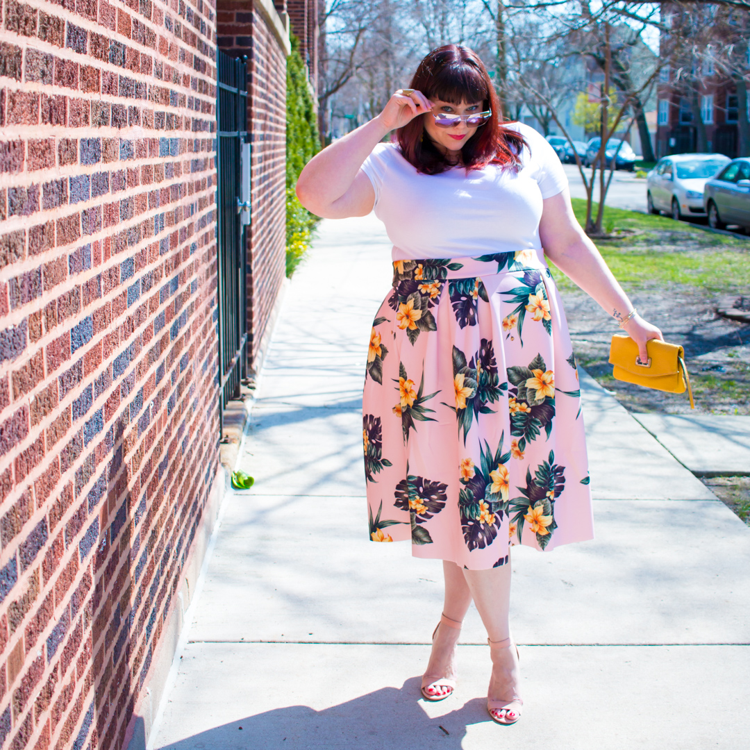 Plus Size Blogger Style Plus Curves in Plus Size Floral Skirt from Asos Curve