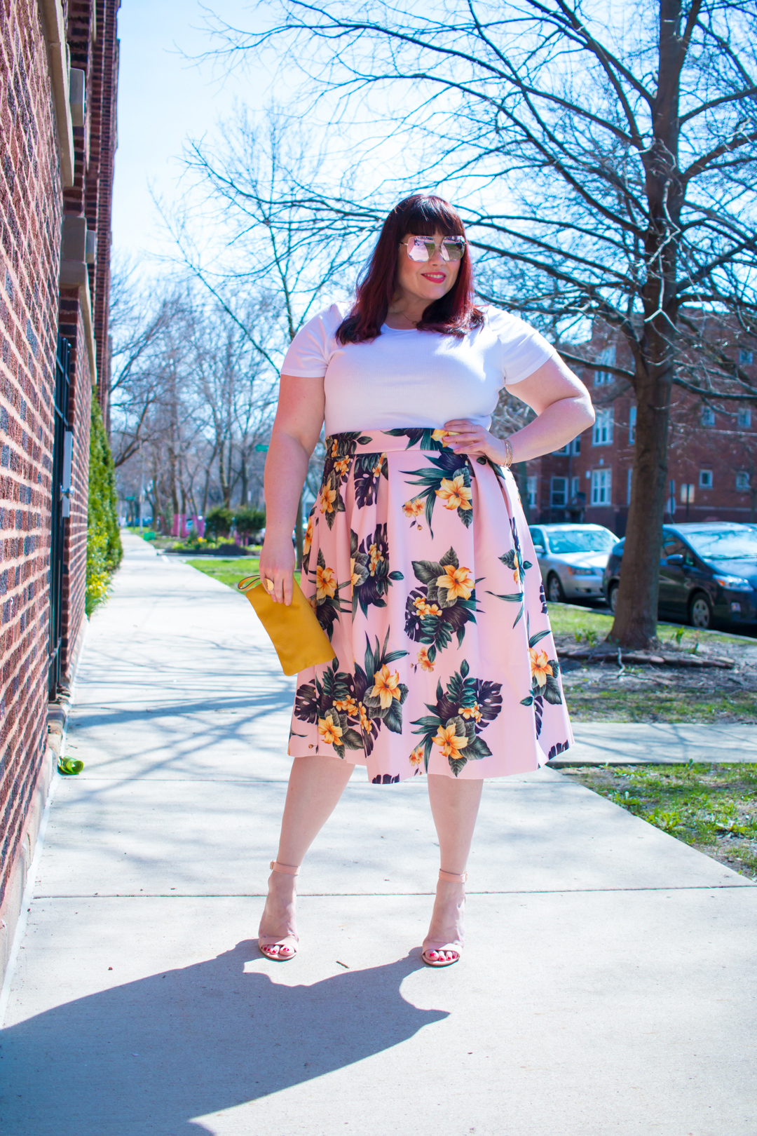 Pink and Palm Print Plus Size Floral Skirt from Asos Curve
