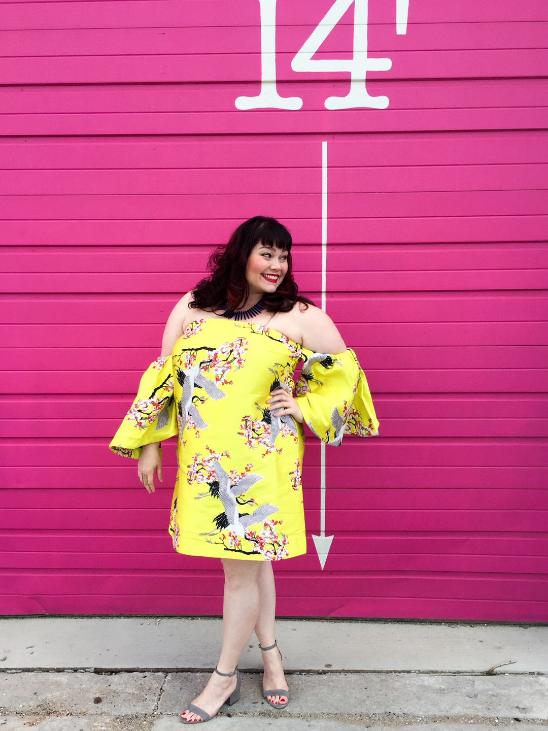 Chicago Plus Size Blogger in ASOS CURVE Extreme Ruffle Sleeve Jacquard Mini Dress
