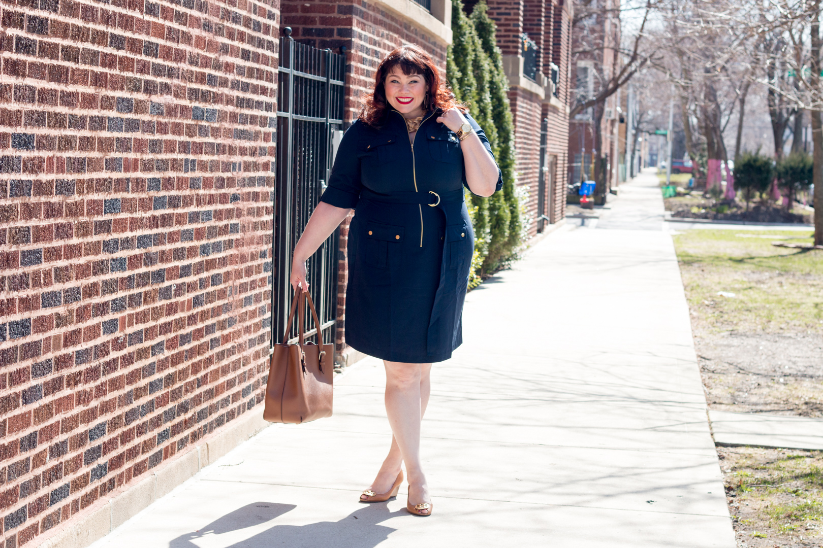 Plus Size Blogger in Navy Shirt Dress from Avenue, Best Plus Size Work Wear
