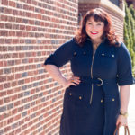 Chicago Blogger in Navy Shirt Dress from Avenue, Best Plus Size Work Wear