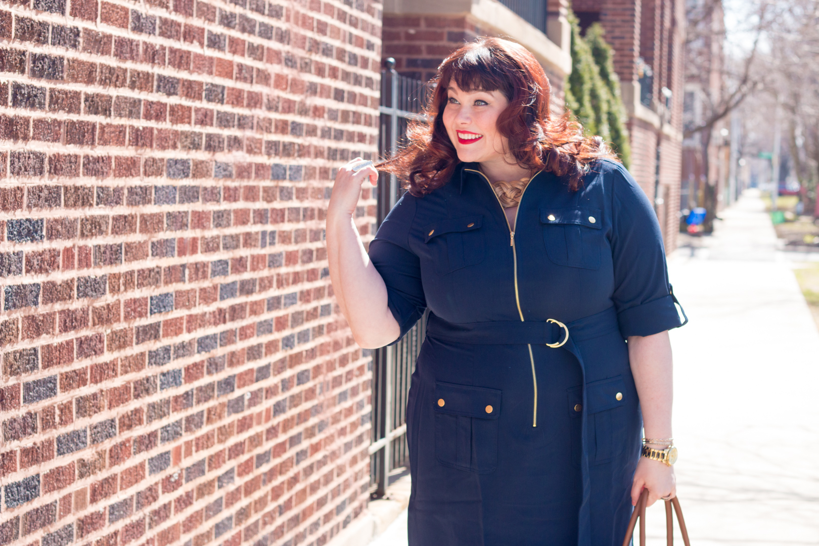 Plus Size Blogger Style Plus Curves in Navy Shirt Dress from Avenue, Best Plus Size Work Wear