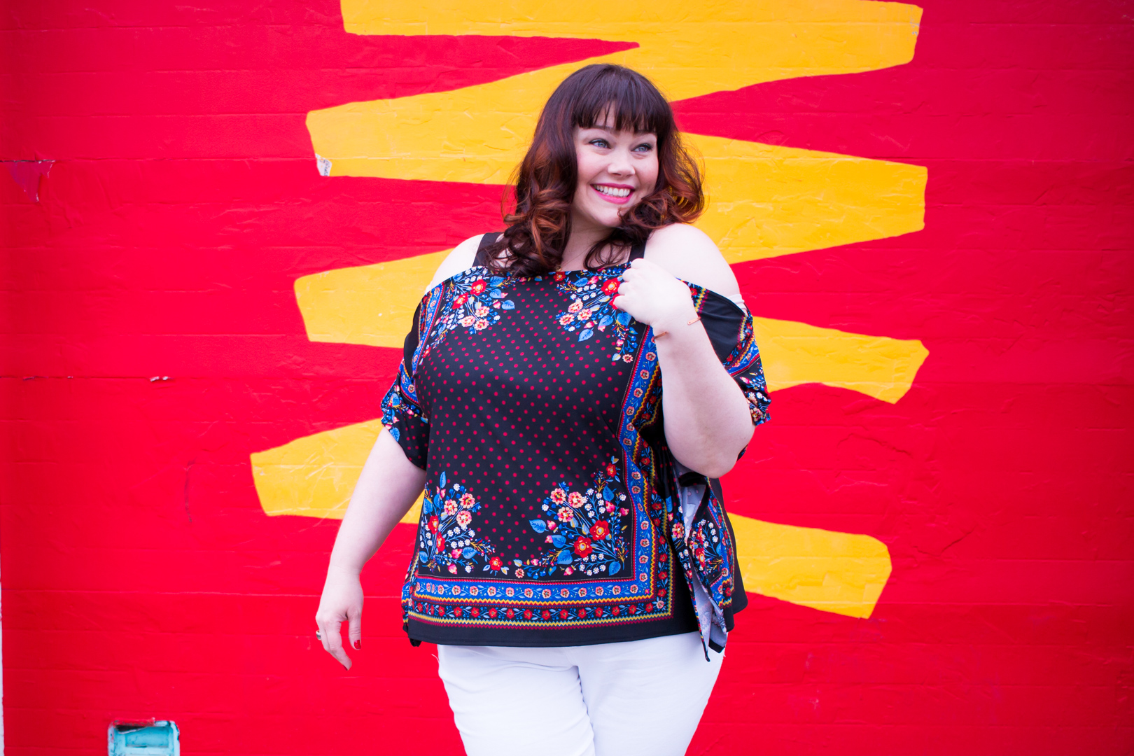 Chicago blogger Style Plus Curves wearing Avenue Cold Shouldered Scarf Top