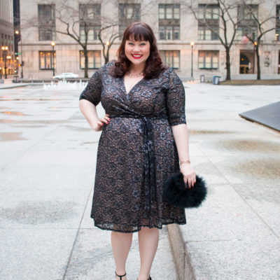 Chicago Blogger in Black Lace Cocktail Dress from Kiyonna