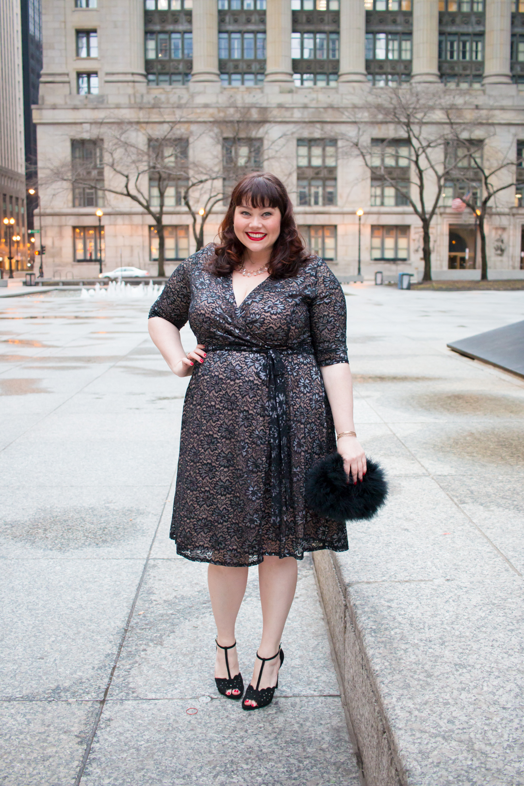 Plus Size Cocktail Attire: Glittering Affair Wrap Dress from Kiyonna