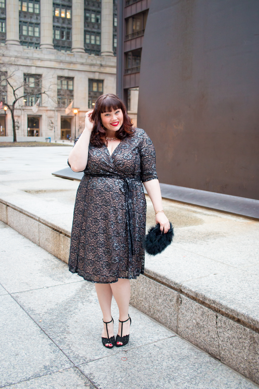Chicago Plus Size Blogger in Glittering Affair Wrap Dress from Kiyonna