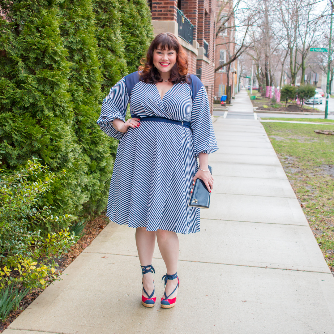 Style Plus Curves Plus Size Blogger in Striped Wrap Dress by Prabal Gurung by Lane Bryant