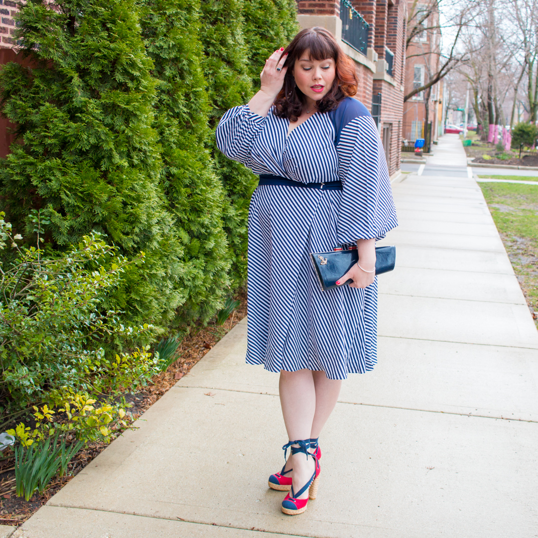 Plus Size Blogger in Striped Wrap Dress by Prabal Gurung by Lane Bryant