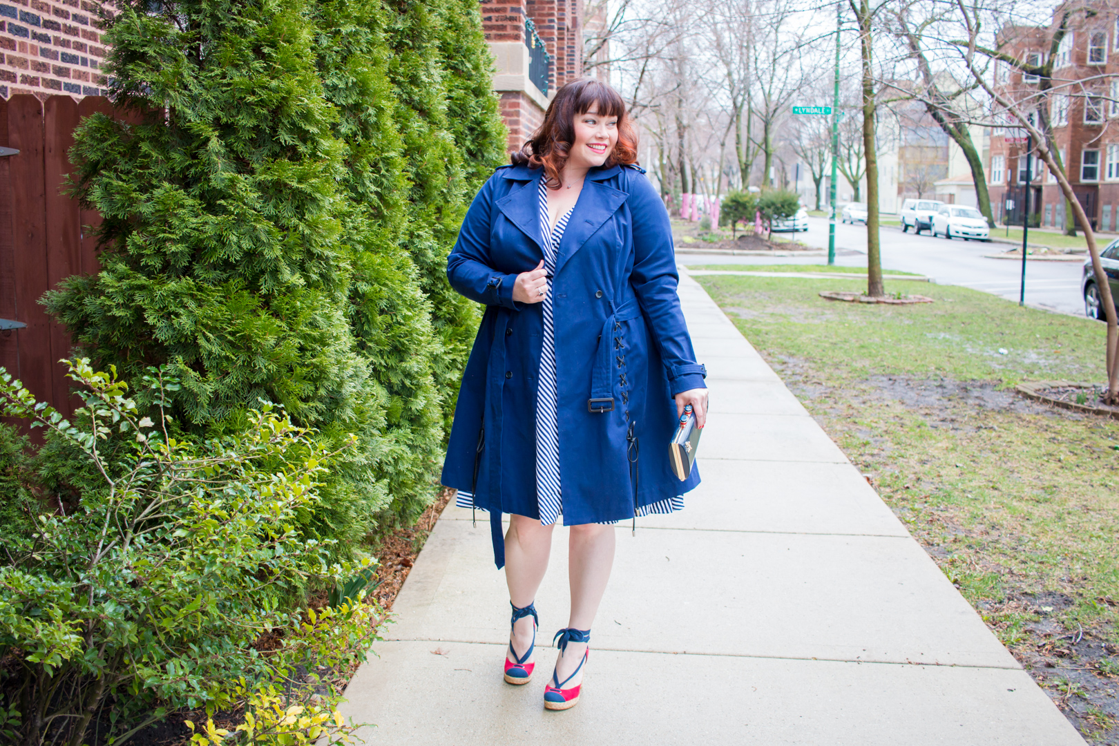 Chicago Blogger Amber in a Plus Size Trench Coat and Wrap Dress from the Lane Bryant x Prabal Gurung Collection