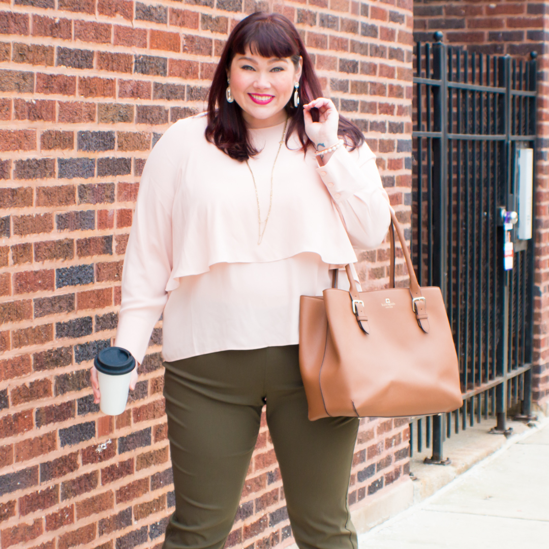 Chicago Plus Size Blogger wears Olive and Blush outfit from Target Who What Wear Collection
