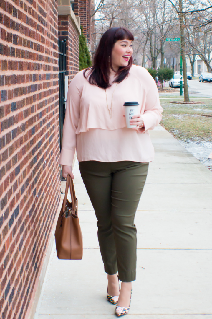 88698d74282 Chicago Plus Size Blogger wears Olive and Blush outfit from Target Who What  Wear Collection