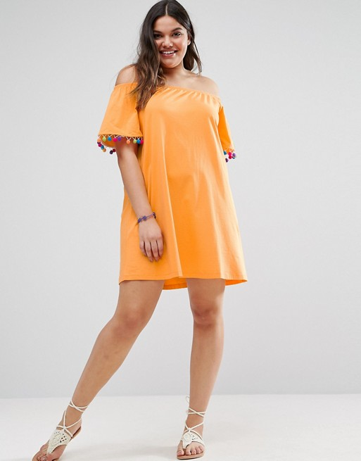 ASOS CURVE Off Shoulder Swing Sundress with Bright Pom Poms