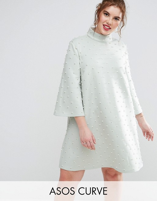 ASOS CURVE Pearl Shift Mini Dress With Fluted Sleeve