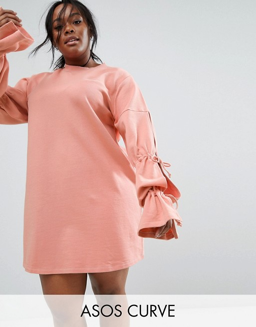 ASOS CURVE Sweat Dress with Gathered Tie Sleeve