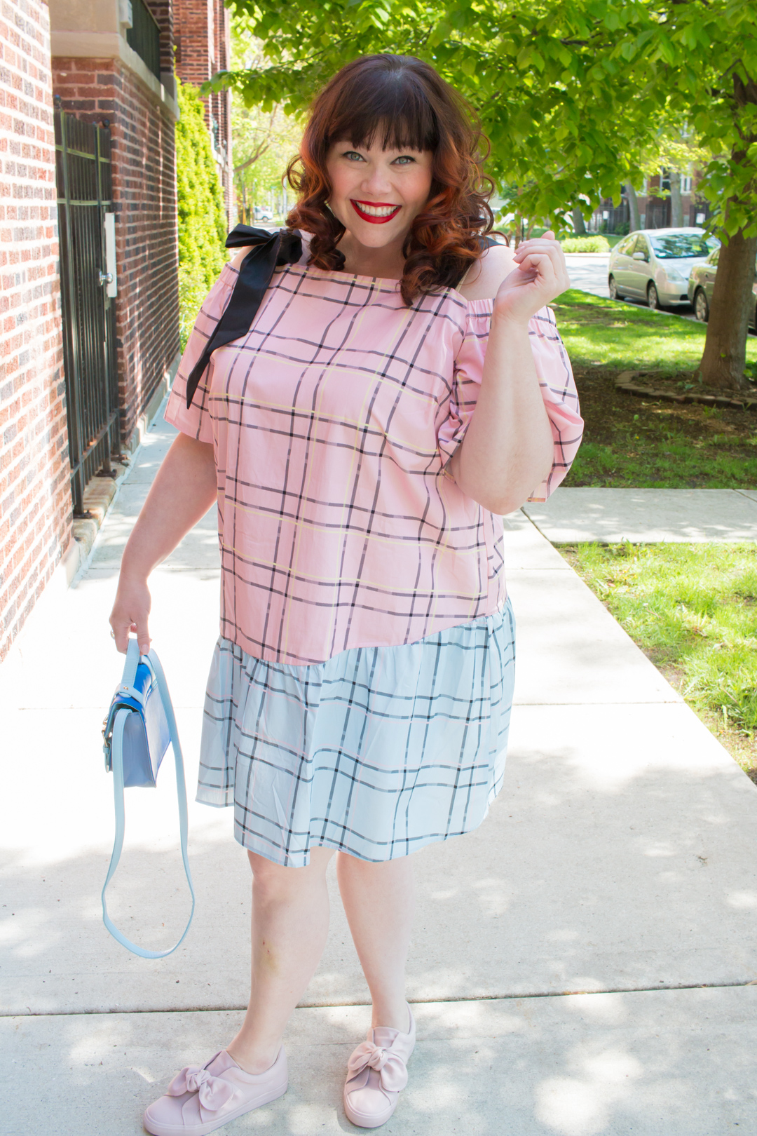 Chicago Blogger in Plus Size Dress: ASOS CURVE Check Mix and Match Cold Shoulder Cotton Dress