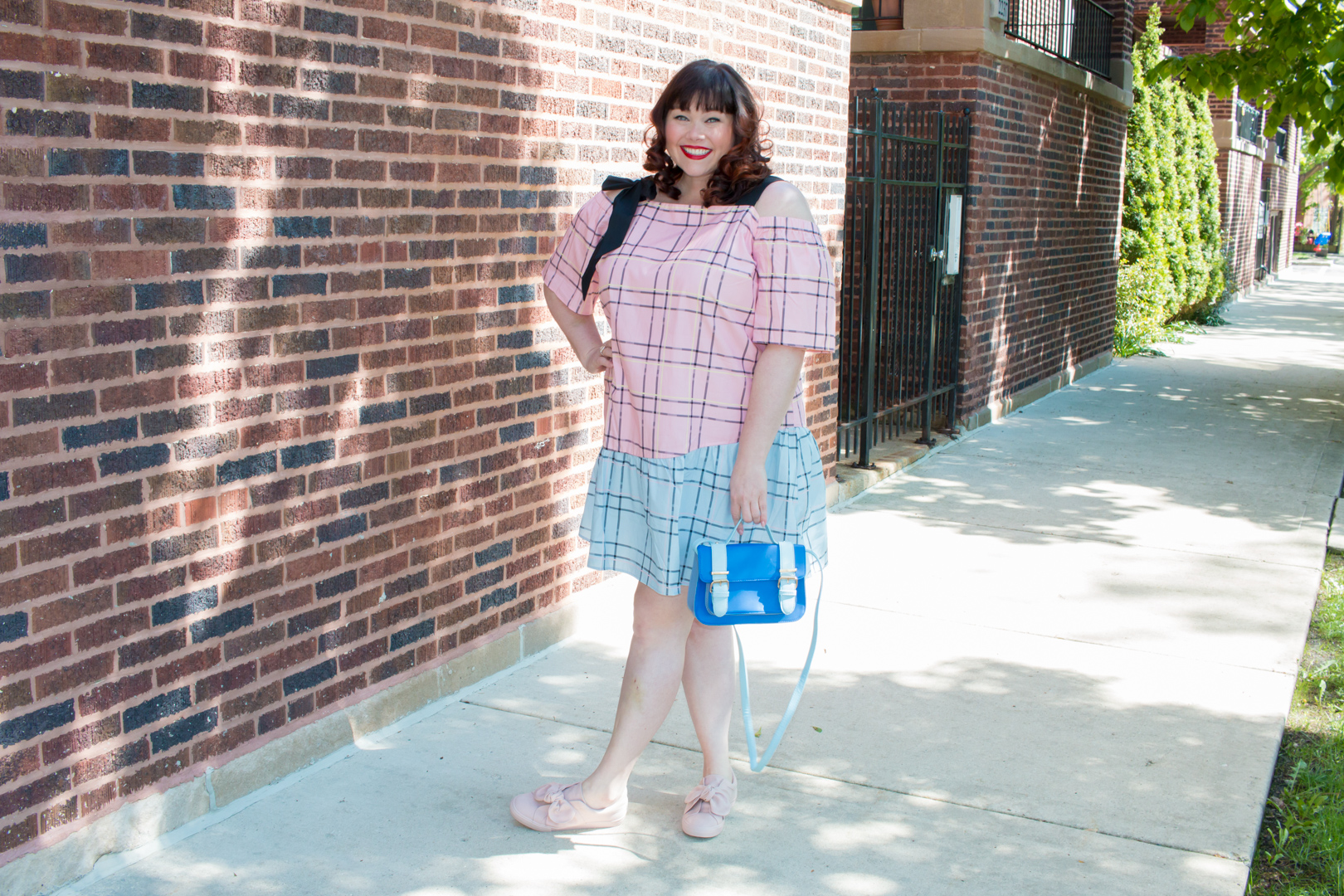 Plus Size Blogger in Plus Size Dress: ASOS CURVE Check Mix and Match Cold Shoulder Cotton Dress