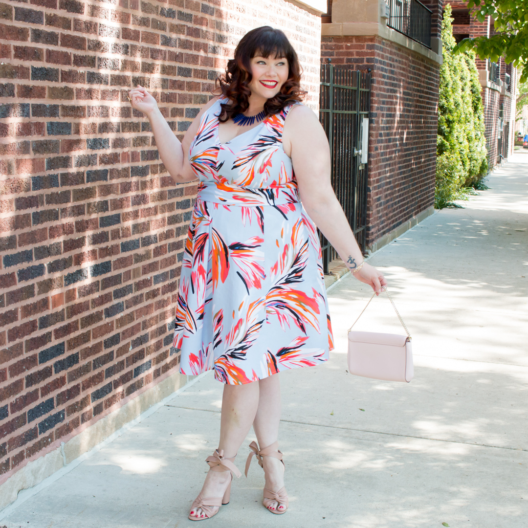 Chicago Plus Size fashion blogger in Lane Bryant Dress