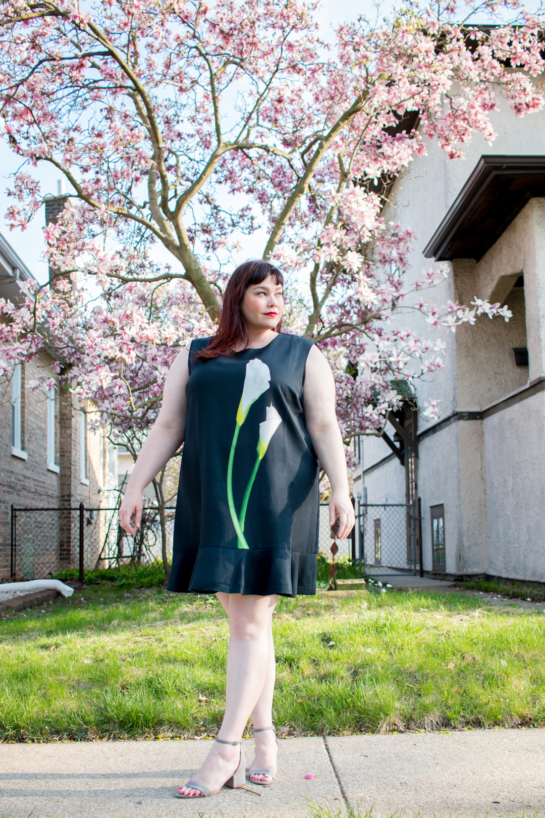 Plus Size Blogger wearing Calla Lily Dress from Victoria Beckham x Target collection