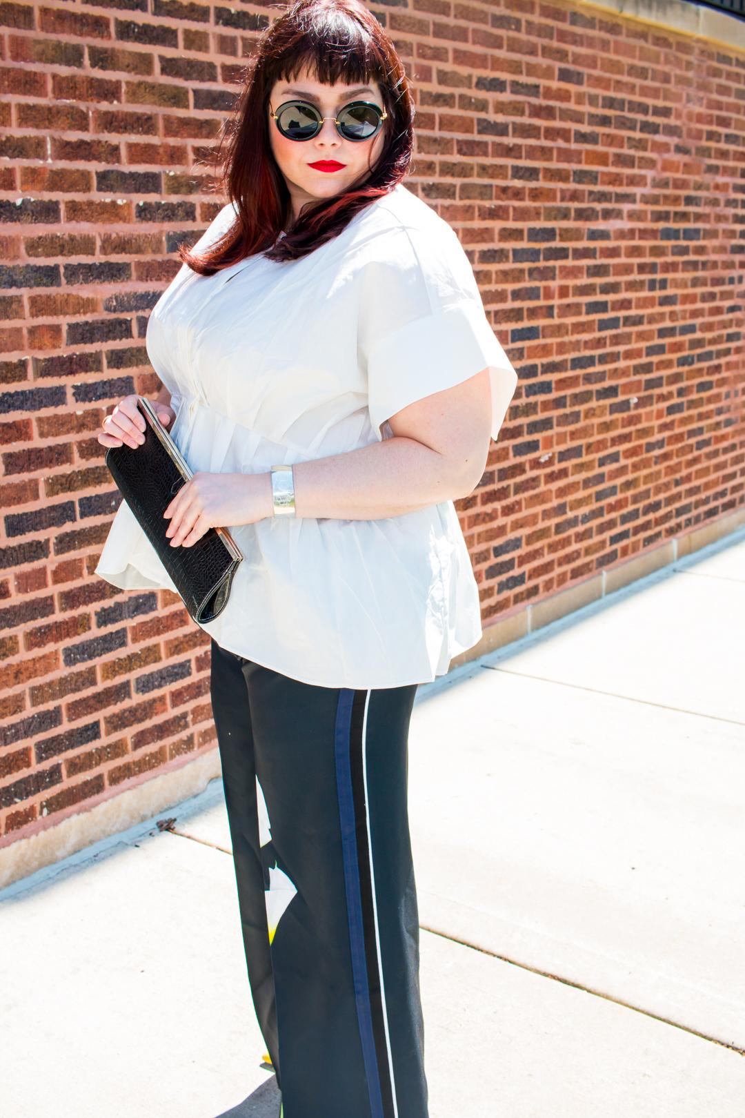 Plus Size Blogger wearing Victoria Beckham x Target Plus Size Calla Lily Pants