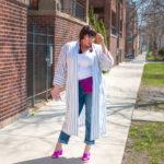 Plus Size Blogger Wearing Kimono Robe Over Jeans, Plus Size Trend, Kimono Robe Trend