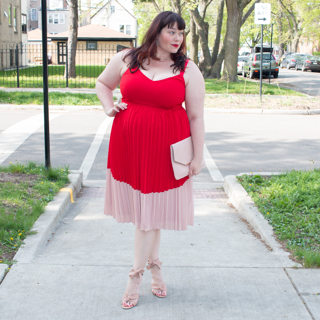 Lost Ink Red and Pink Pleated Tea Dress from Asos