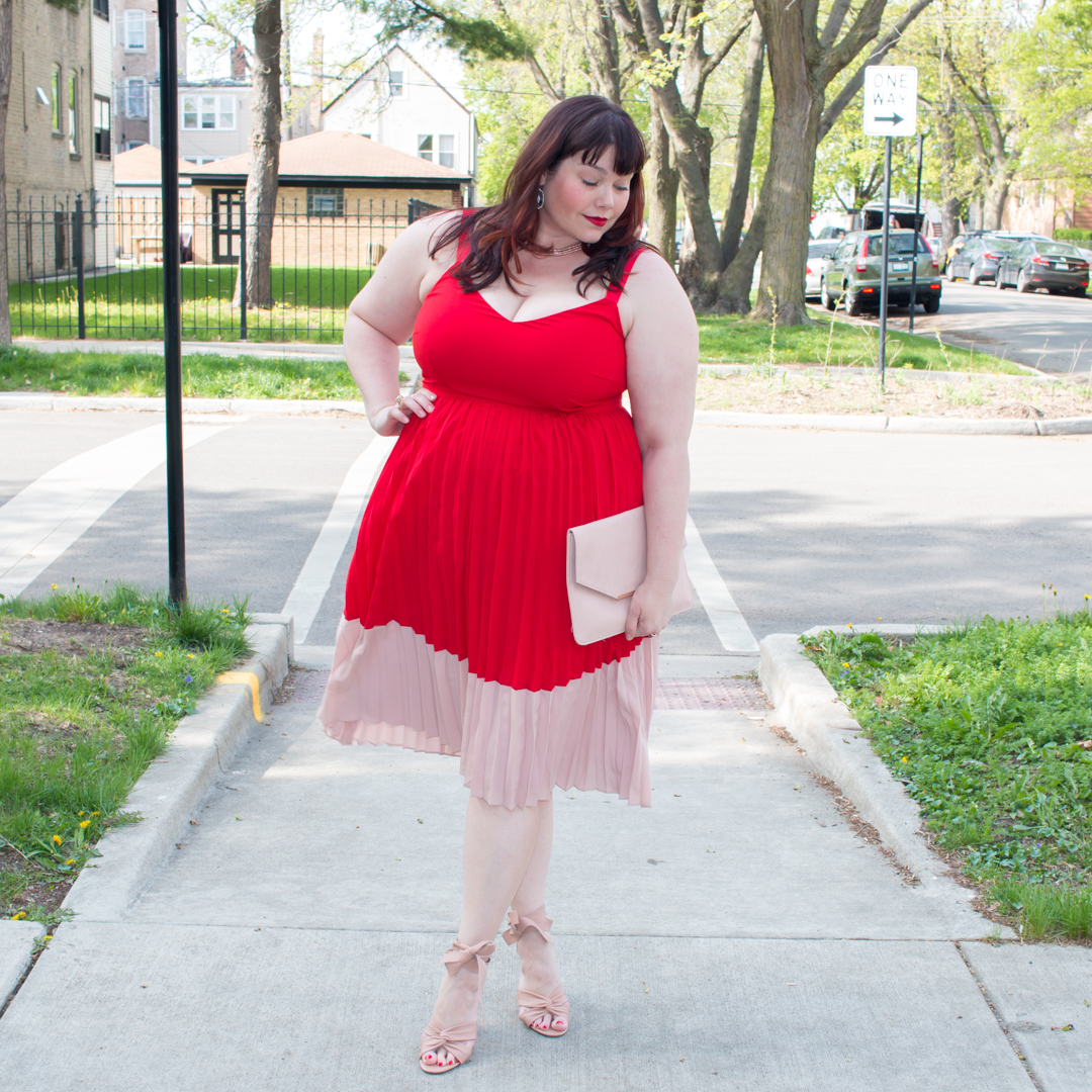 Chicago Plus Size Blogger in Red and Pink Pleated Dress from Asos Curve