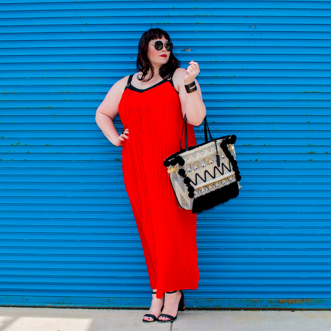 Chicago Plus Size Blogger in Worthington Red Pleated Maxi Dress from JCPenney
