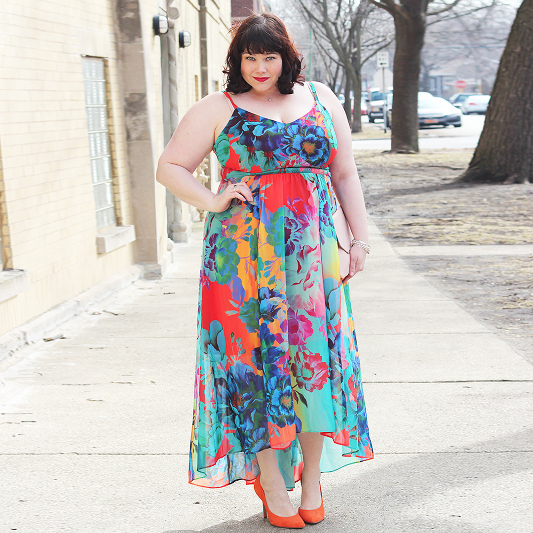Plus Size Summer Style in City Chic Neon Floral Dress