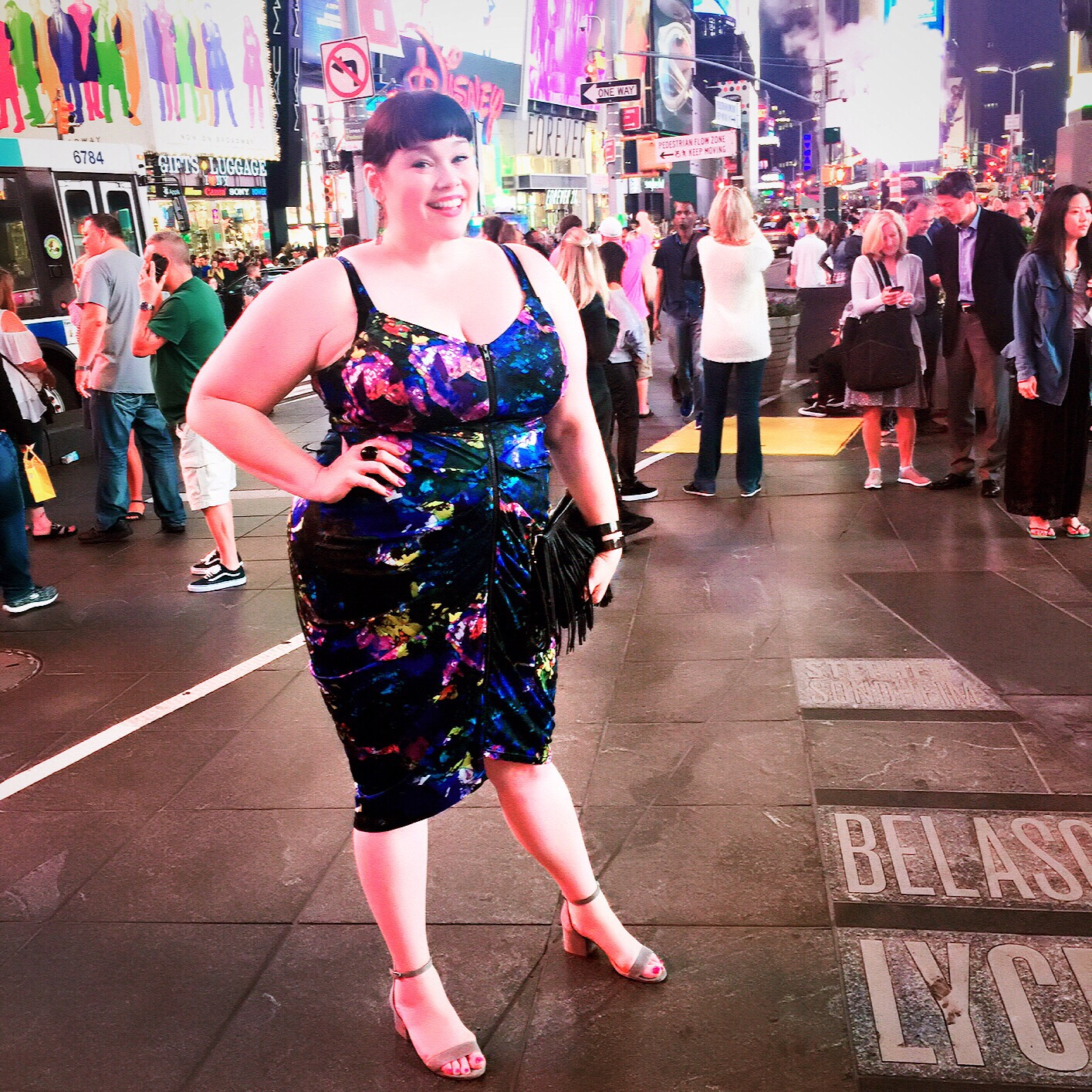 Plus Size Summer Style City Chic Pixel Zipper Dress