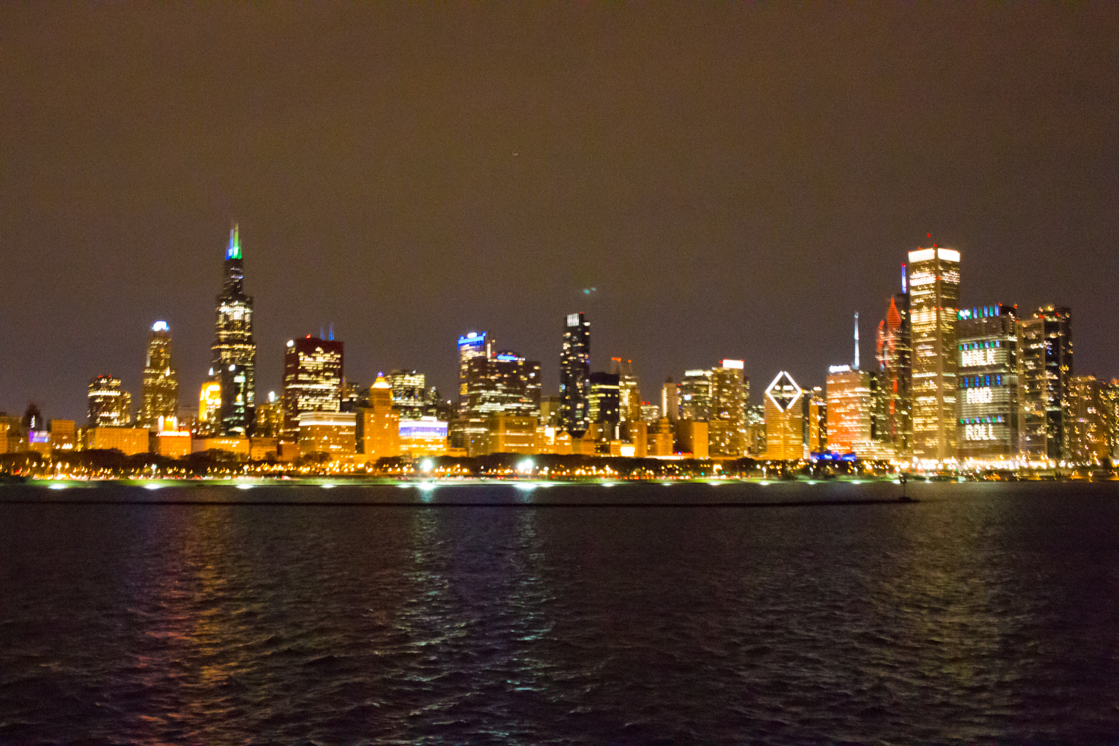 Chicago Skyline at Night from Odyssey Boat Cruise