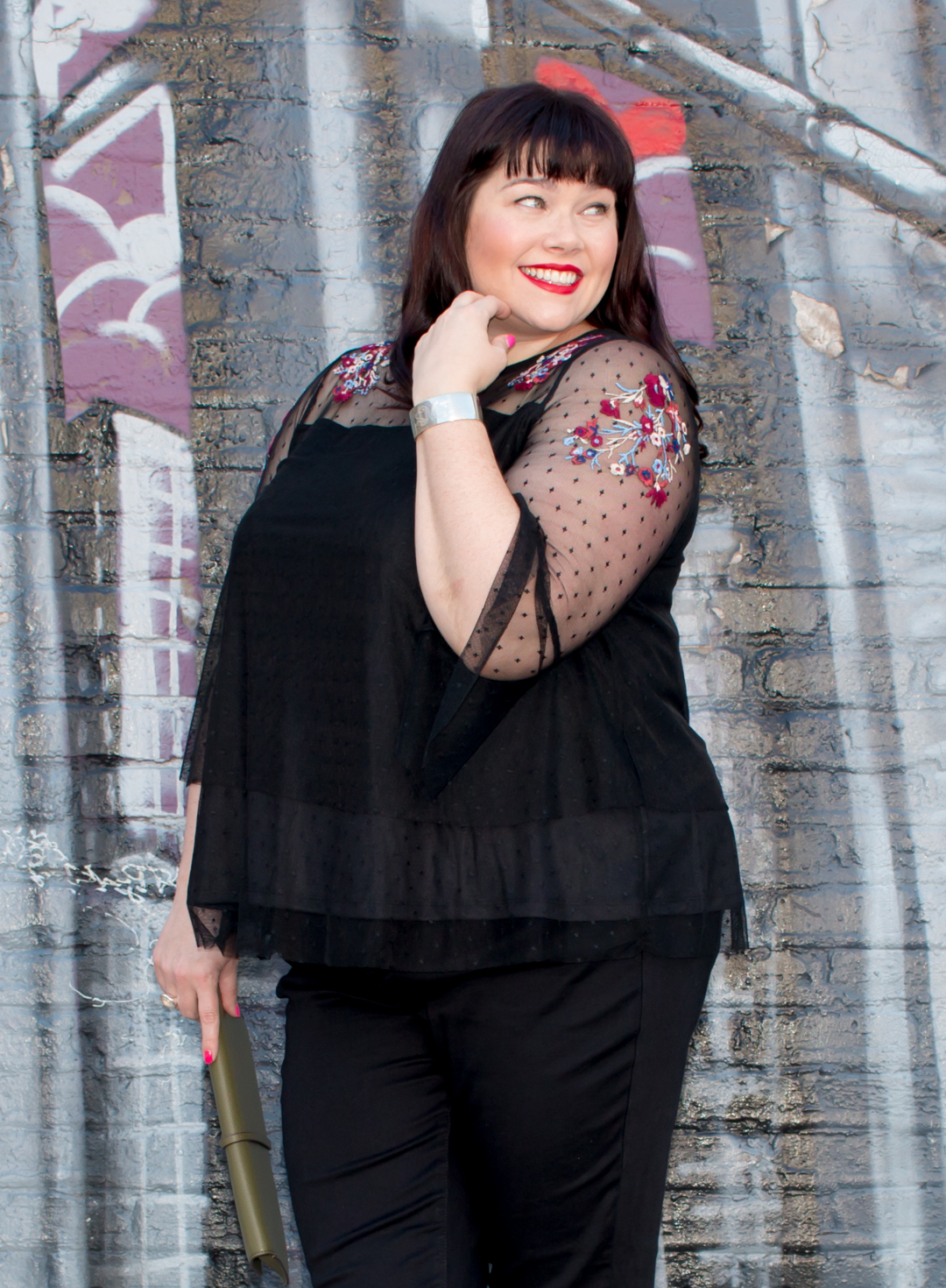 Style Plus Curves, Chicago Blogger, Chicago Plus Size Blogger, Plus Size Blogger, Amber McCulloch, Lane Bryant, The New Skinny Jeans, Plus size jeans, embroidered mesh top
