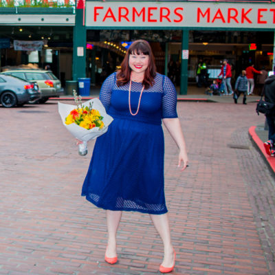 Style Plus Curves, Chicago Blogger, Chicago Plus Size Blogger, Plus Size Blogger, Amber McCulloch, Kiyonna Plus Size Dress, Kiyonna Alexa Retro Dot Dress, Navy Dress, Navy Plus Size Dress, Seattle