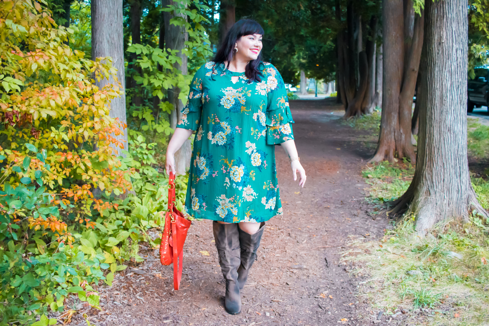 Plus Size Fall Fashion Find: Avenue Green Floral Swing Dress