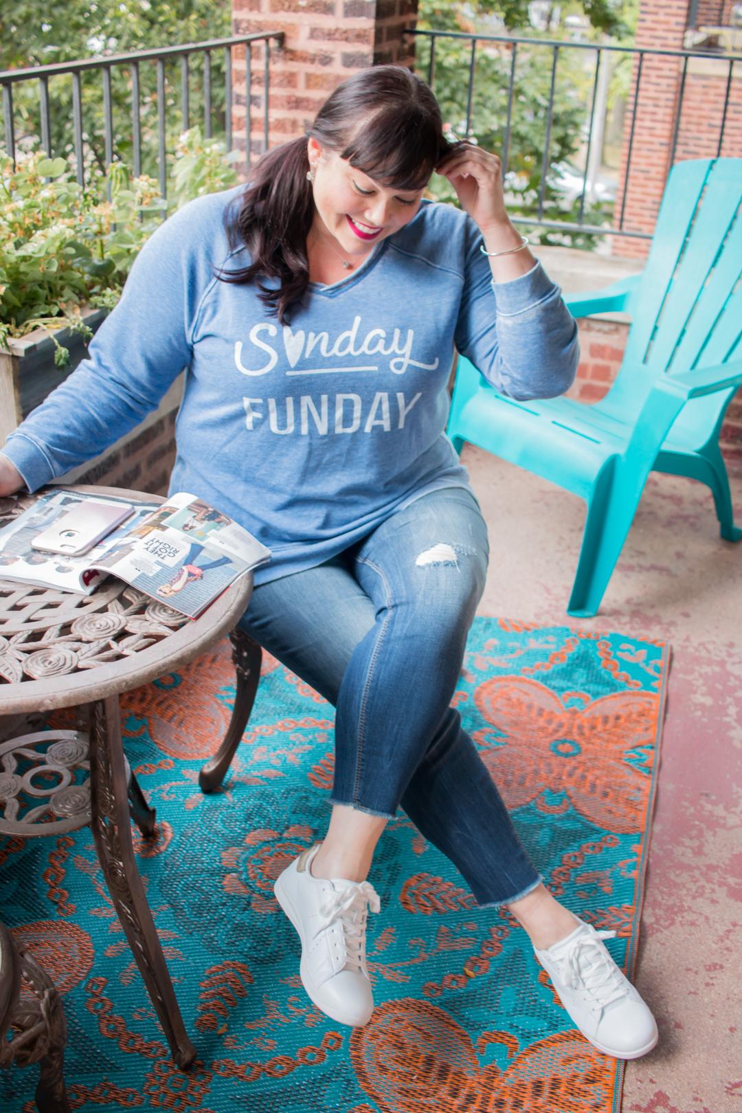 Avenue, Sunday Funday Sweatshirt, Plus Size OOTD, Fall Fashion, Plus Size Casual Style, Plus Size Sweatshirt, Style Plus Curves, Chicago Blogger, Chicago Plus Size Blogger, Plus Size Blogger, Amber McCulloch