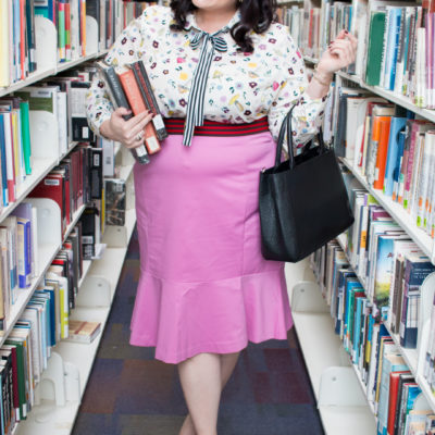 Librarian Style: Eloquii Conversational Print Blouse and Flounce Pencil Skirt