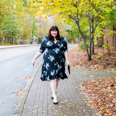 Plus Size Wrap Dress: Kiyonna Flirty Flounce Wrap Dress in Midnight Dahlia