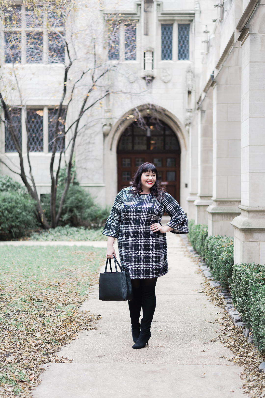 Just My Size Plus Size Dresses, Plaid, Bell sleeves, Plus Size Style, Plus Size Fashion, Style Plus Curves, Chicago Blogger, Chicago Plus Size Blogger, Plus Size Blogger, Amber McCulloch