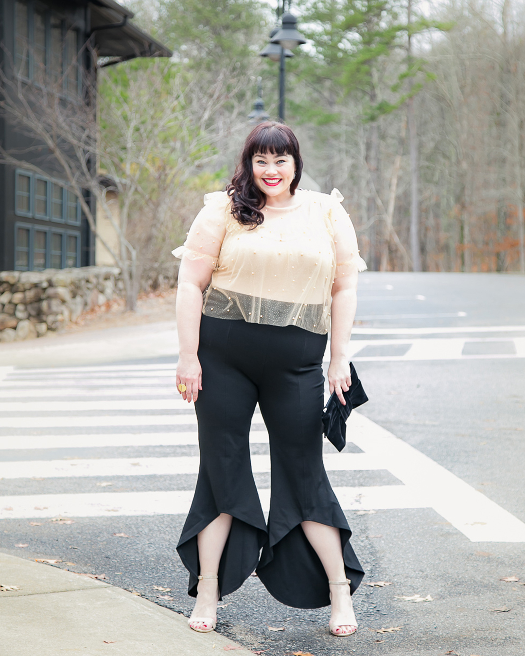 Plus Size NYE Outfit, New Year's Eve, Pearl Mesh Top, Ruffle Pants, Forever 21 Plus, Amber McCulloch, Plus Size Blogger, Style Plus Curves