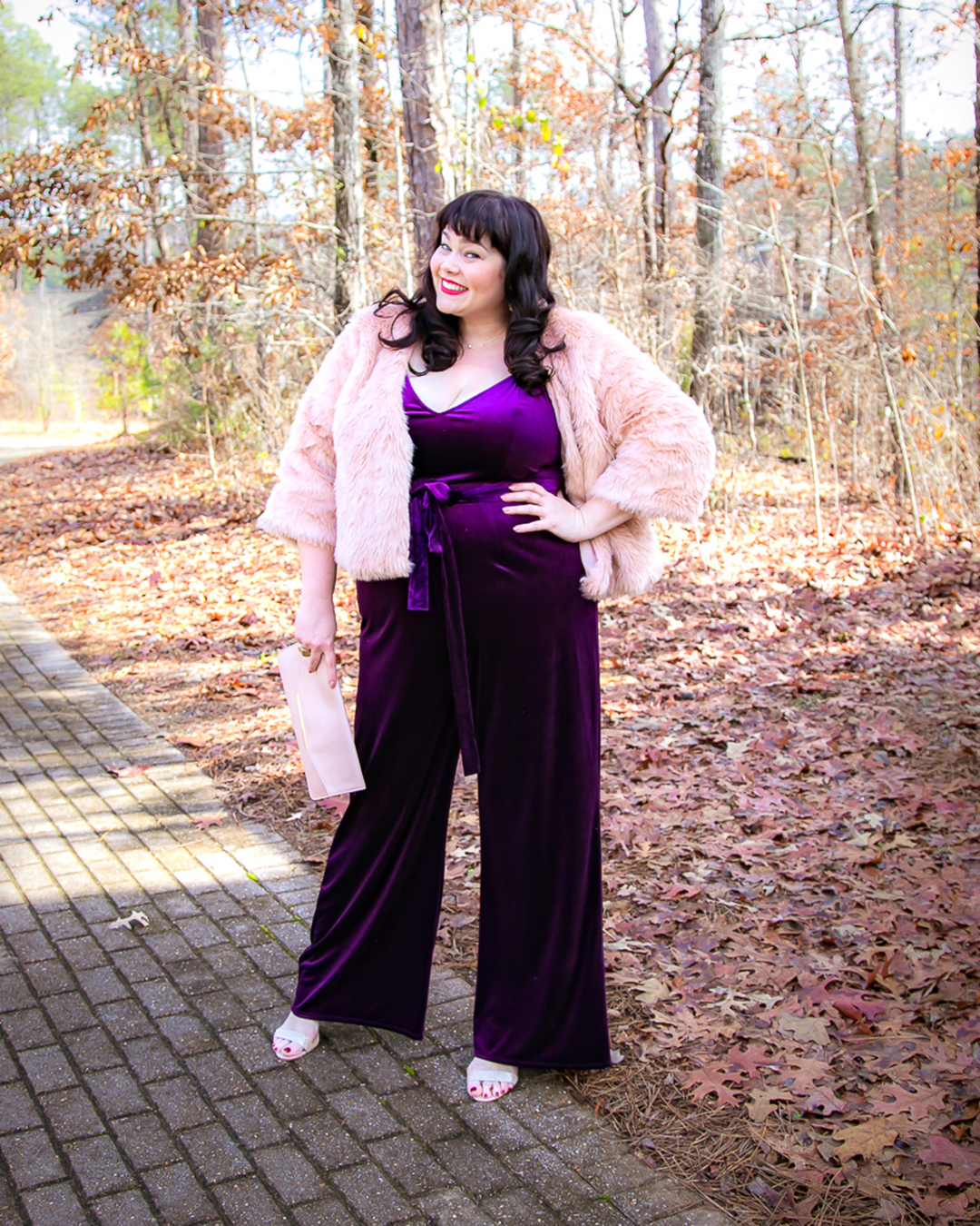 Plus Size NYE Outfit, New Year's Eve, Purple Velvet Jumpsuit, Forever 21 Plus, Amber McCulloch, Plus Size Blogger, Style Plus Curves