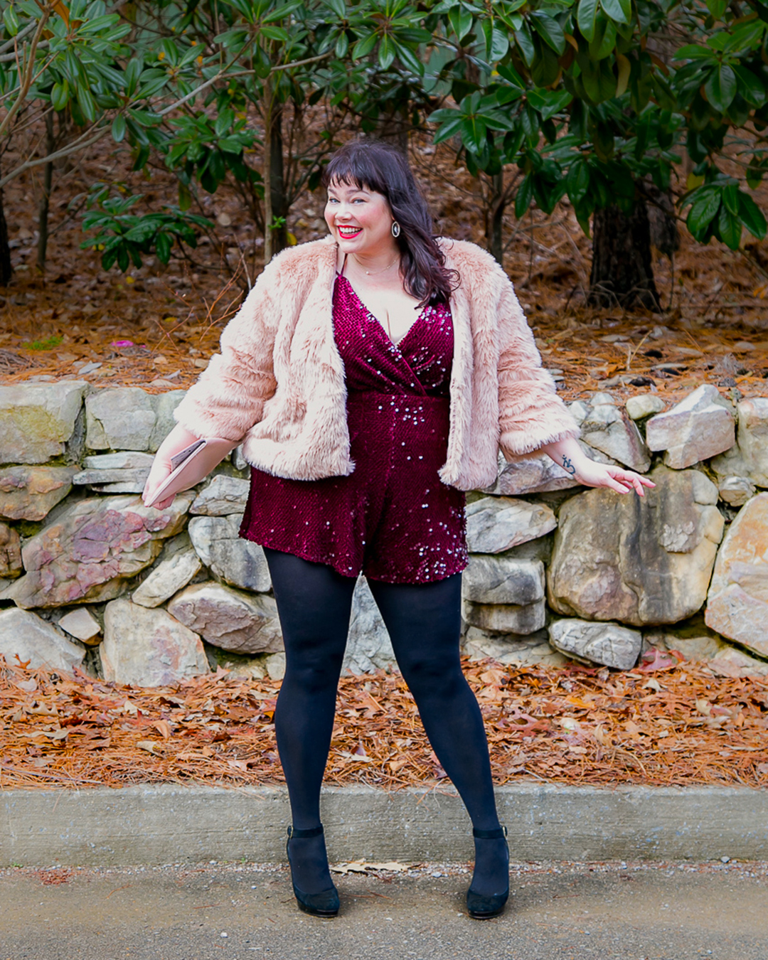 Plus Size NYE Outfit, New Year's Eve, Wine Sequin Velvet Romper, Forever 21 Plus, Amber McCulloch, Plus Size Blogger, Style Plus Curves