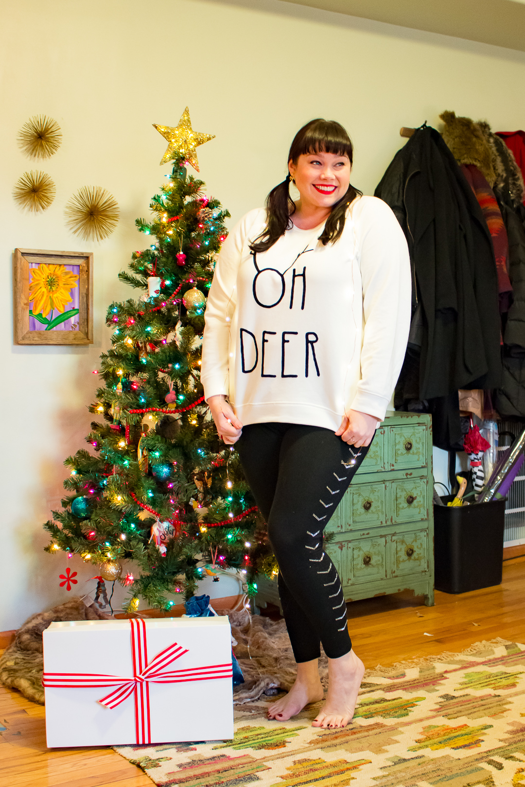 Simply Be Oh Deer Sweatshirt, plus size holiday looks, Plus Size Fashion, Style Plus Curves, Chicago Blogger, Chicago Plus Size Blogger, Plus Size Blogger, Amber McCulloch