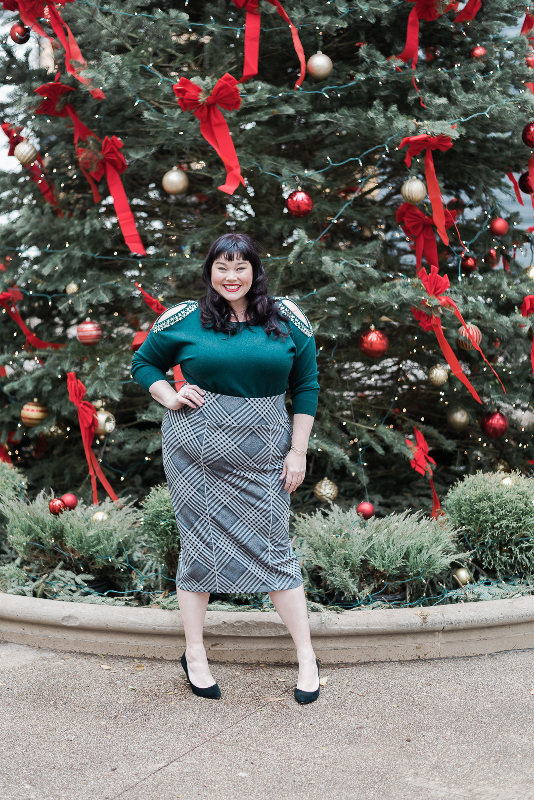 Emerald Green Plus Size, Macy's, INC green embellished sweater, Plus Size Style, Plus Size Fashion, Style Plus Curves, Chicago Blogger, Chicago Plus Size Blogger, Plus Size Blogger, Amber McCulloch