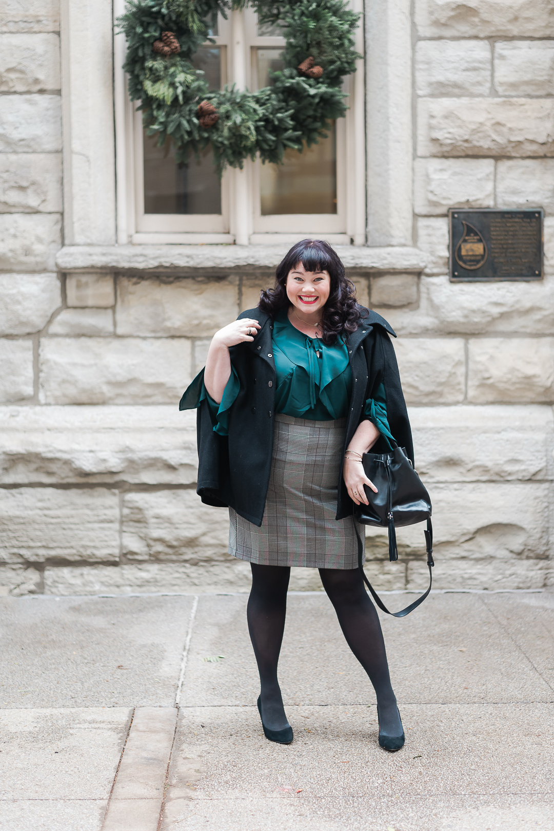 Emerald Green Plus Size, Macy's, INC green ruffled top, Plus Size Style, Plus Size Fashion, Style Plus Curves, Chicago Blogger, Chicago Plus Size Blogger, Plus Size Blogger, Amber McCulloch