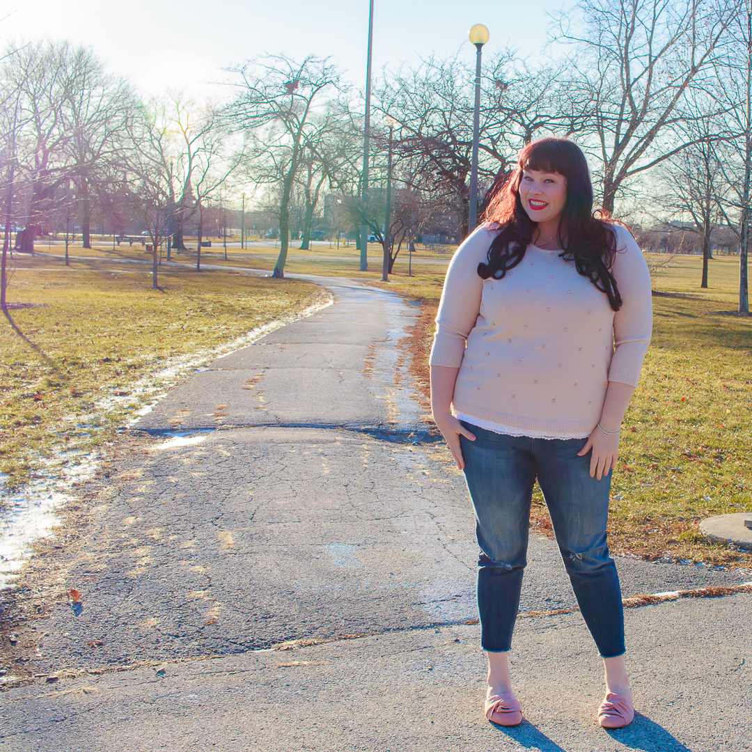 Plus Size Winter Style, Pearl Pink Sweater, Avenue, Chicago Blogger, Plus Size Blogger, Style Plus Curves