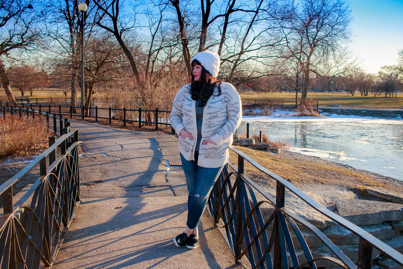 Plus Size Winter Style, Zebra Print Cardigan, white fur hat, Avenue, Chicago Blogger, Plus Size Blogger, Style Plus Curves